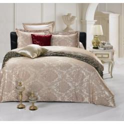 2 спальное постельное белье жаккард бежевое с орнаментом