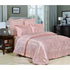 1.5 спальное постельное белье жаккард персиковое с орнаментом