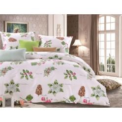 1.5 спальный комплект постельного белья сатин белый с рисунком гербария