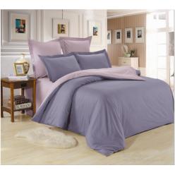 1.5 спальное постельное белье однотонное из сатина серое с бежевым
