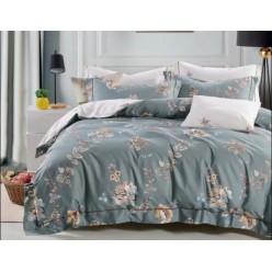 2 спальное постельное белье премиум сатин двустороннее серое с листьями
