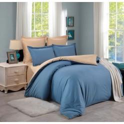 1.5 спальный однотонный комплект постельного белья голубой с бежевым