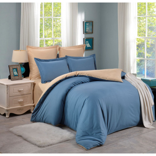 2 спальный комплект постельного белья голубой с бежевым