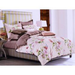 1.5 спальный комплект постельного белья розовый с коричневым и цветами