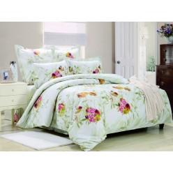 1.5 спальный комплект постельного белья сатин светло бирюзовый с розовыми цветами