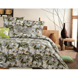 2 спальное постельное белье сатин зеленое с цветами