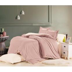 1.5 спальное постельное белье однотонное из сатина розовое с бежевым