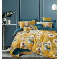 2 спальное постельное белье премиум сатин двустороннее желтое с цветами