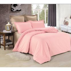 1.5 спальное постельное белье однотонное из сатина бежевое с розовым