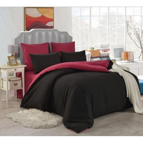 1.5 спальное постельное белье однотонное двустороннее черное