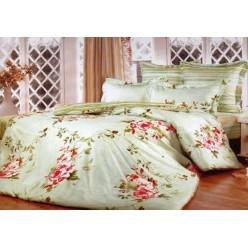 1.5 спальный комплект постельного белья салатовый с розами