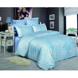 1.5 спальное постельное белье жаккард голубое с орнаментом