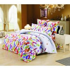 1.5 спальный комплект постельного белья сатин белый с яркими перьями
