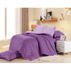 1.5 спальное постельное белье однотонное двустороннее из сатина сиреневое