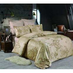 1.5 спальное постельное белье жаккард золотисто коричневое