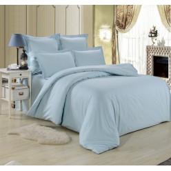 1.5 спальное постельное белье однотонное из сатина голубое