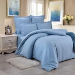 1.5 спальный однотонный комплект постельного белья светло-голубой