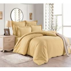 1.5 спальный однотонный комплект постельного белья золотистый