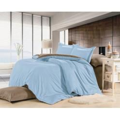 1.5 спальное постельное белье однотонное из сатина голубое с бежевым