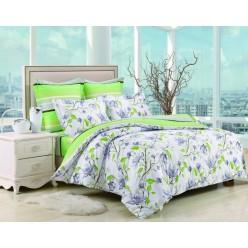 2 спальный комплект постельного белья сатин белый с салатовыми цветами