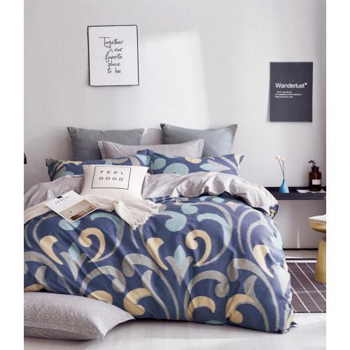 2 спальный комплект постельного белья премиум сатин двусторонний синий