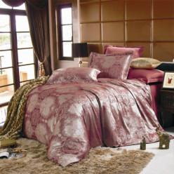 Евро постельное белье жаккард коричневое с орнаментом