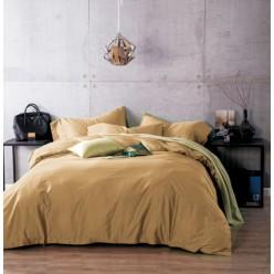 1.5 спальное постельное белье однотонное из сатина горчичное