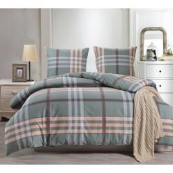 2 спальное постельное белье сатин двустороннее дымчато бирюзовое в клетку