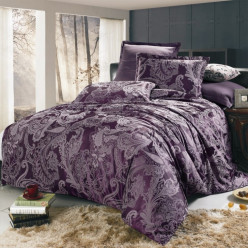 1.5 спальное постельное белье жаккард фиолетовое с орнаментом
