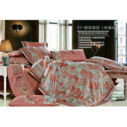 1.5 спальное постельное белье жаккард коричневое с орнаментом