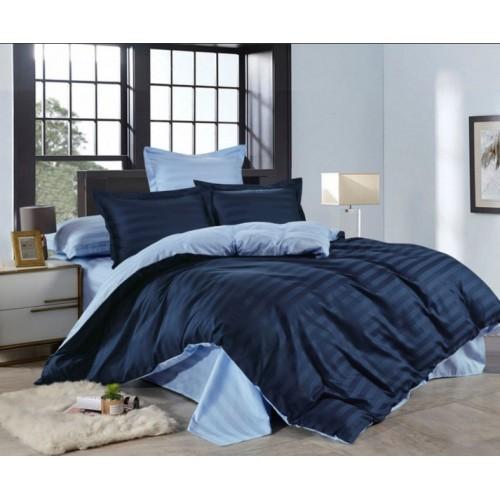 1.5 спальное двустороннее постельное белье страйп сатин синее в полоску