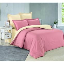 1.5 спальное постельное белье однотонное из сатина розовое с желтым