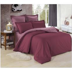 1.5 спальное постельное белье однотонное из сатина бордовое с фиолетовым