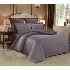 1.5 спальное постельное белье однотонное из сатина серое с коричневым