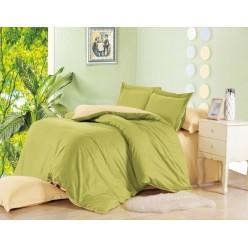 1.5 спальное постельное белье однотонное из сатина салатовое с бежевым