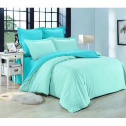 1.5 спальное постельное белье однотонное из сатина бирюзовое