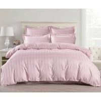 1.5 спальное постельное белье страйп сатин розовое в полоску