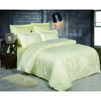 1.5 спальное постельное белье жаккард желтое с орнаментом