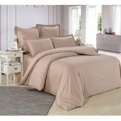 1.5 спальное постельное белье однотонное из сатина бежевое