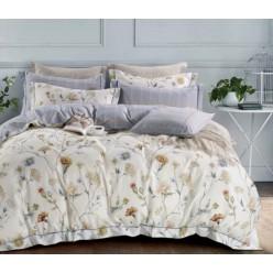 2 спальное постельное белье премиум сатин двустороннее кремовое с полевыми цветами