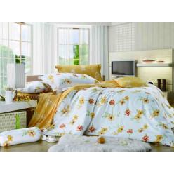 1.5 спальный комплект постельного белья сатин белое с желтым в цветах