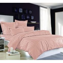 1.5 спальное сатиновое постельное белье однотонное розовое