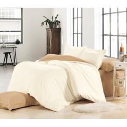 1.5 спальное постельное белье однотонное из сатина кремовое с коричневым