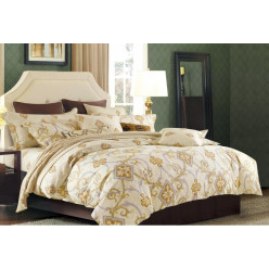 2 спальный комплект постельного белья премиум сатин двусторонний бежевый
