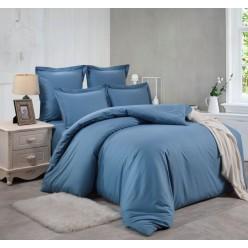 1.5 спальный однотонный комплект постельного белья темно-голубой