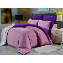 1.5 спальное постельное белье однотонное двустороннее дымчато розовое