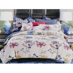 1.5 спальный комплект постельного белья бежевый с фантазийными цветами