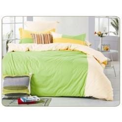 1.5 спальное сатиновое постельное белье однотонное салатовое