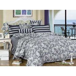 2 спальный комплект постельного белья сатин белый с серыми полосками и цветами