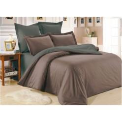 1.5 спальное постельное белье однотонное из сатина коричневое с серым